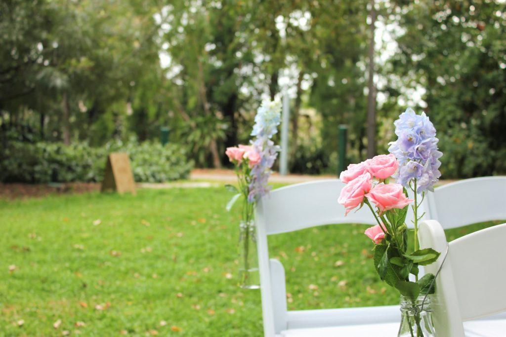 Brisbane city botanic gardens wedding decor