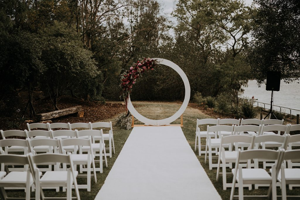 white Circular wedding arbour