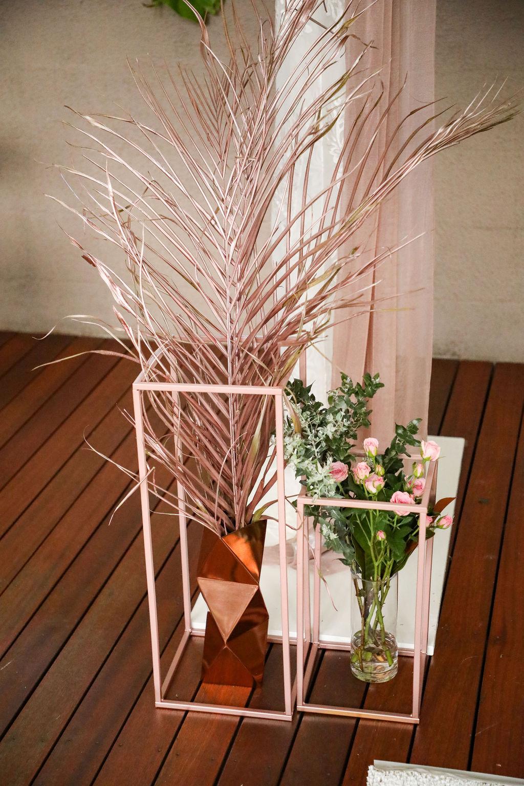 Rose gold wedding ceremony decoration
