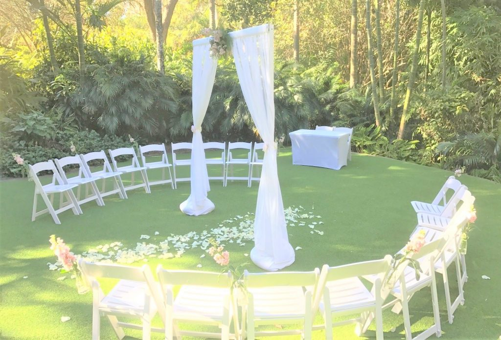Mt Coot-tha circular wedding ceremony setup