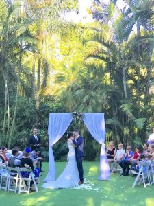 Palm Tree Lawn Mt Coot-tha wedding set up