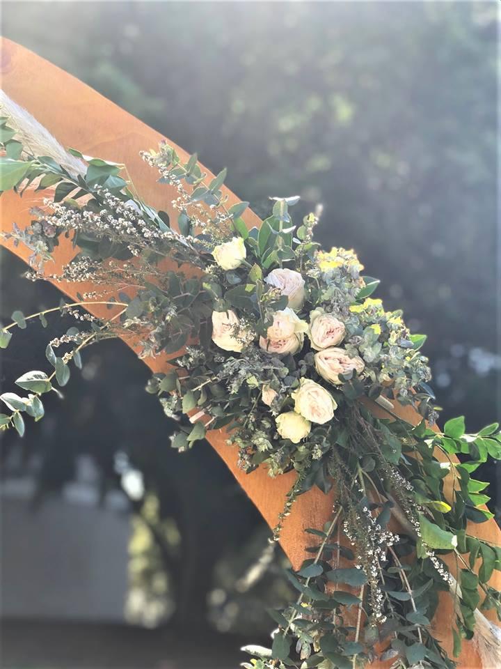 Pampass grass wedding ceremony styling