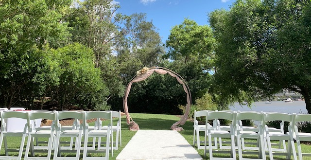 Rose gold wedding arch Brisbane