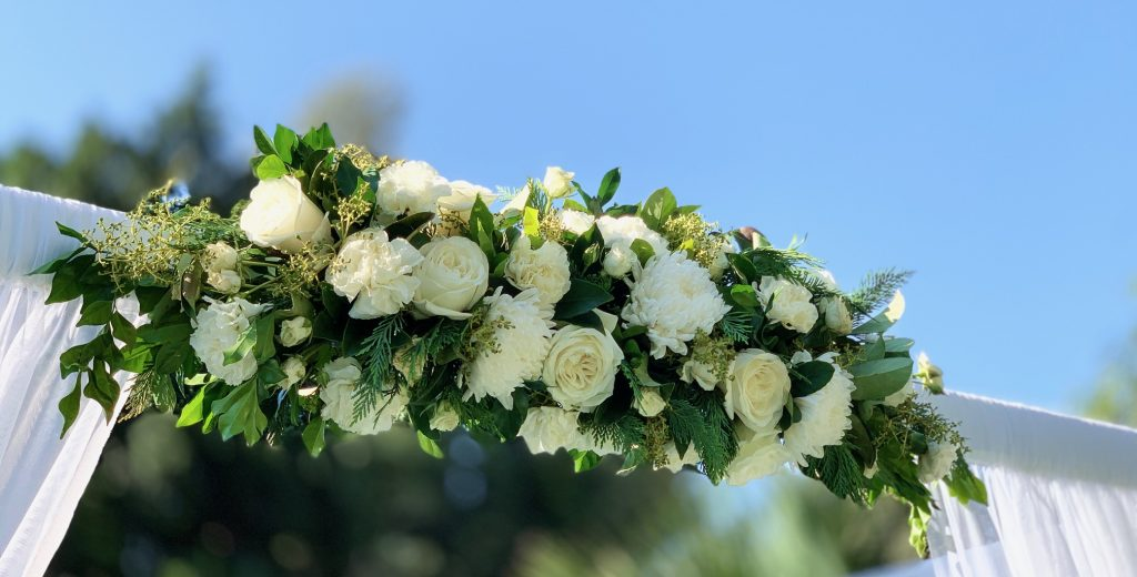 Wedding arbour florals