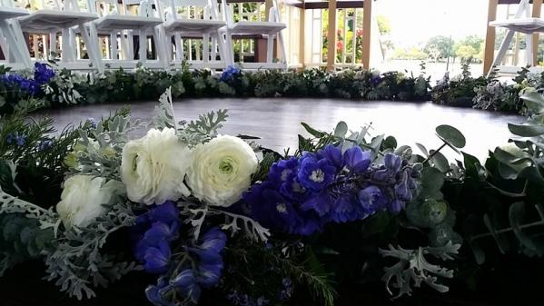 Wedding ceremony floral wreath