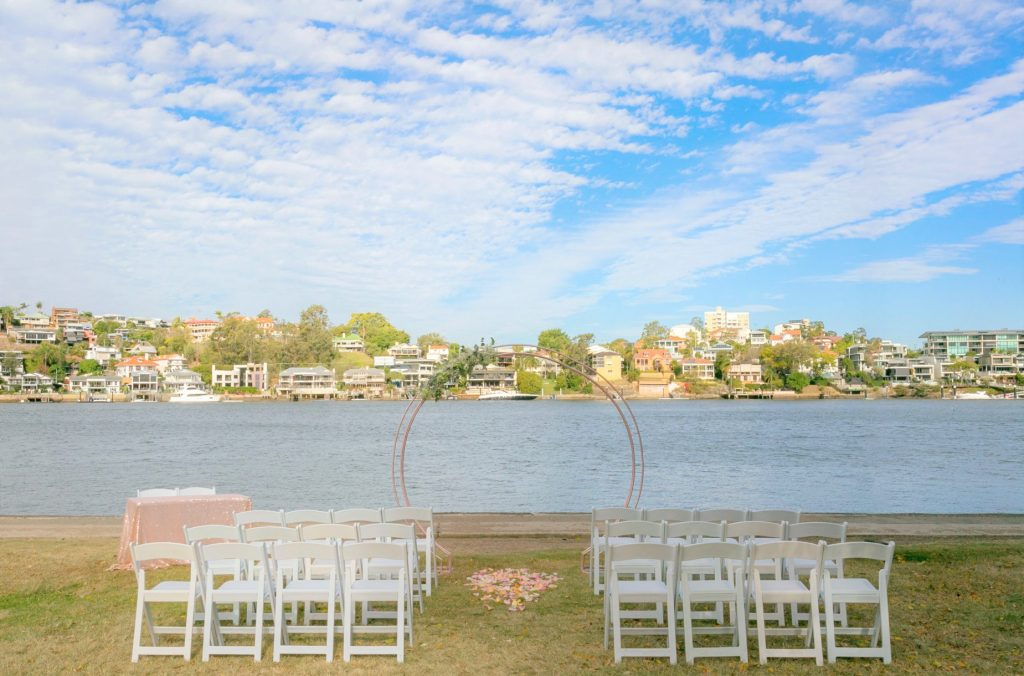 rose gold circular wedding arbour Brisbane