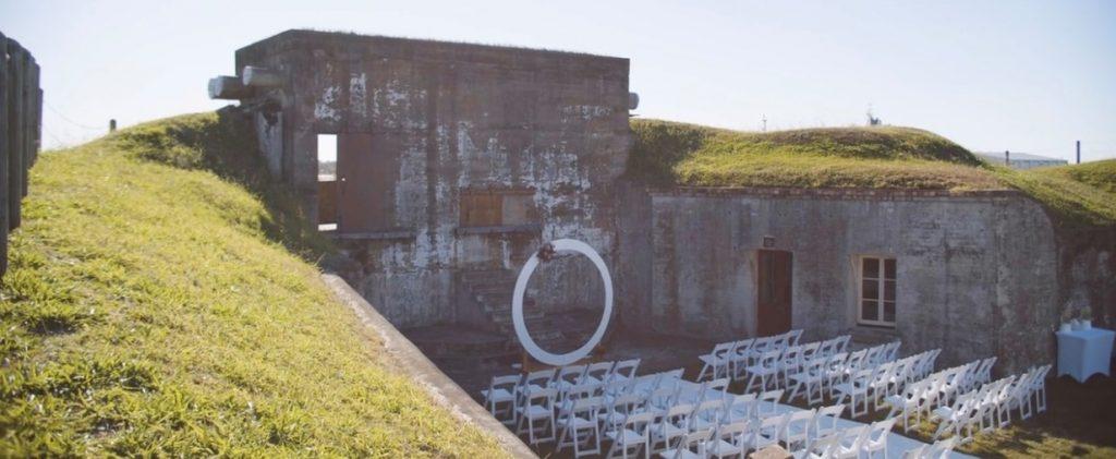 white circular wedding arbour