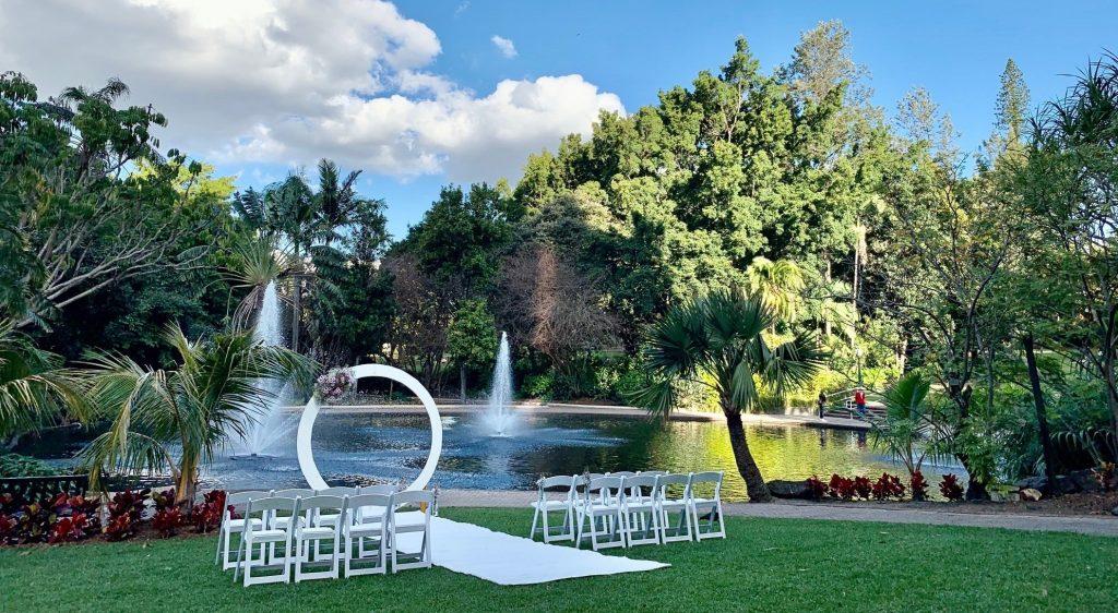 Brisbane City Botanic Gardens wedding ceremony decoration