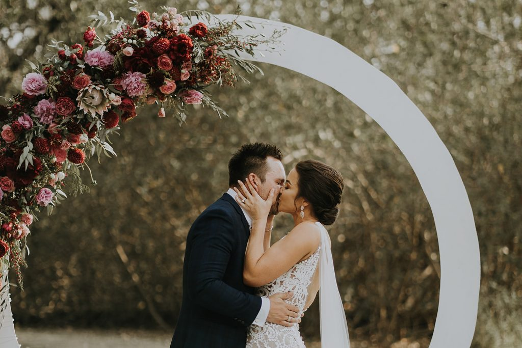 white Circle wedding arch