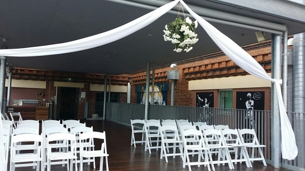 Floral chandelier wedding decor