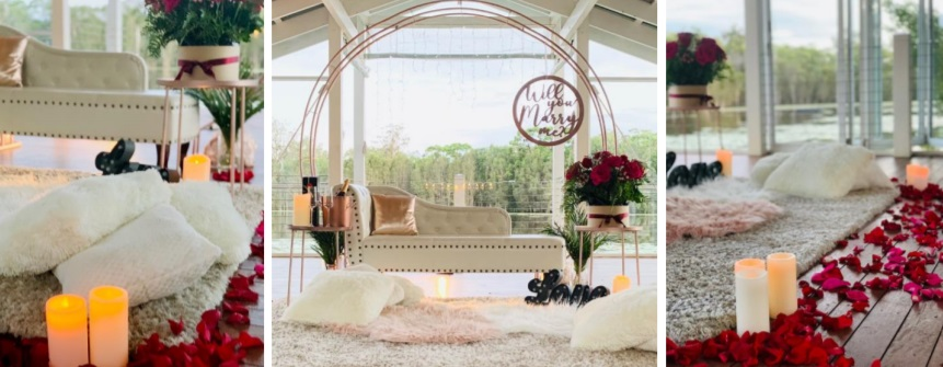 Luxe picnic proposal setting
