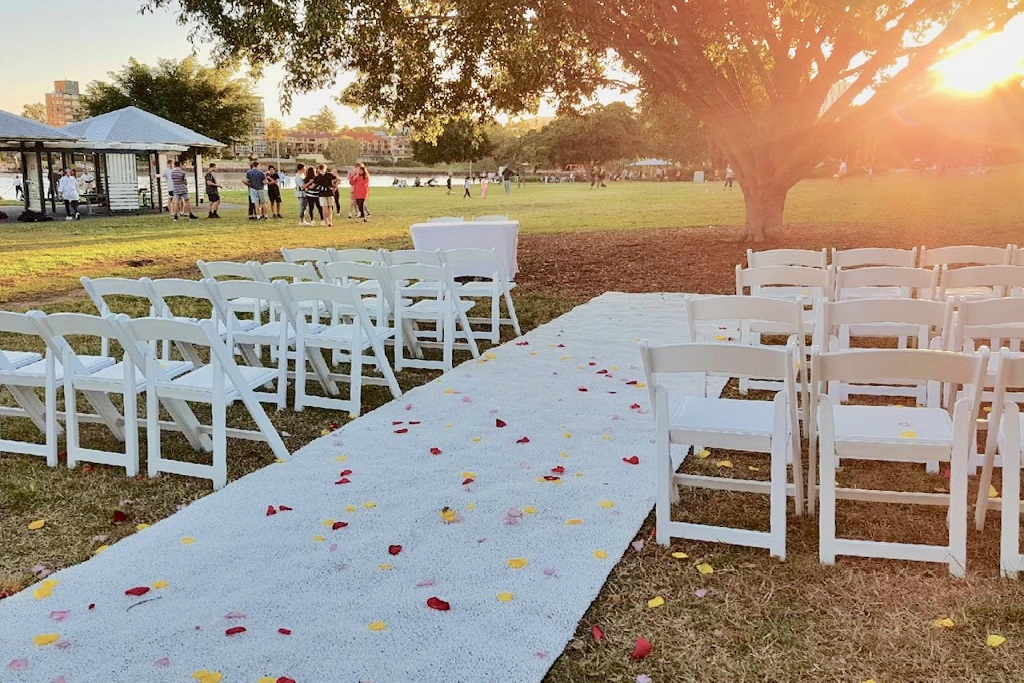 Orleigh Park wedding ceremony setup chairs
