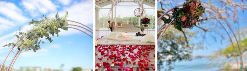 Rose gold arbour proposal backdrop