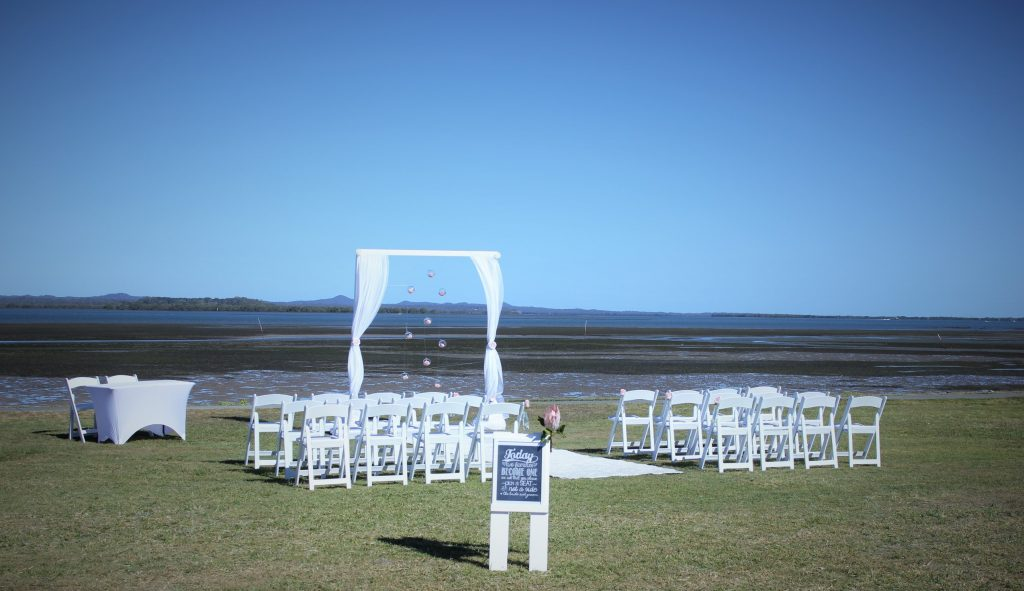 s beach Victoria point wedding setup