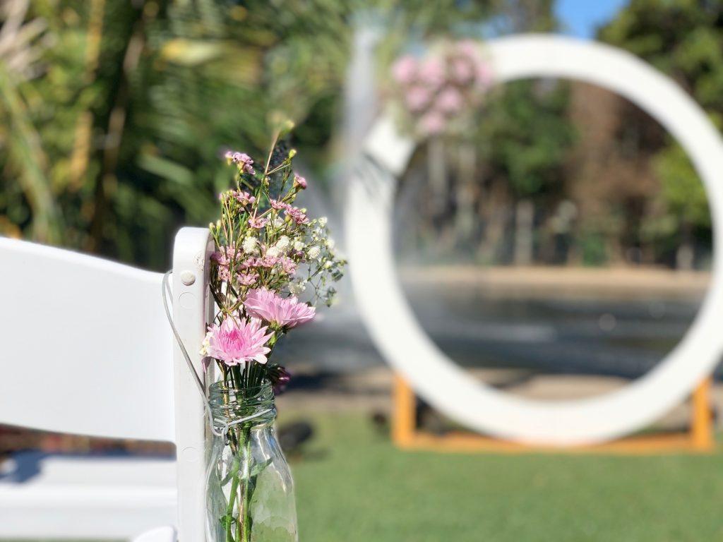 White circle wedding arbour Brisbane City