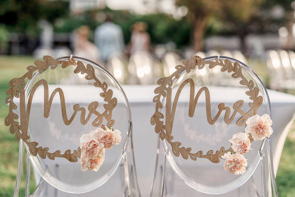 Mrs and Mrs wedding signs