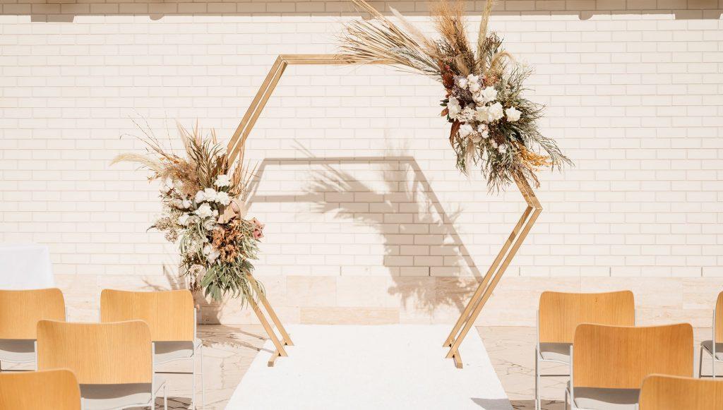 Hexagonal wedding arbour hire Brisbane