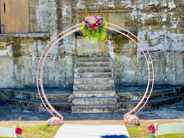 wedding ceremony decor at Fort Lytton