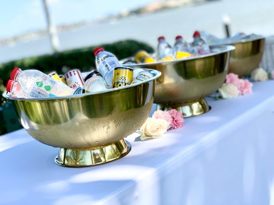 gold wedding drinks bar