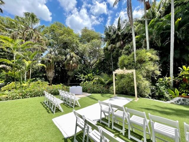 wedding decor setup Mt Coot-tha botanic