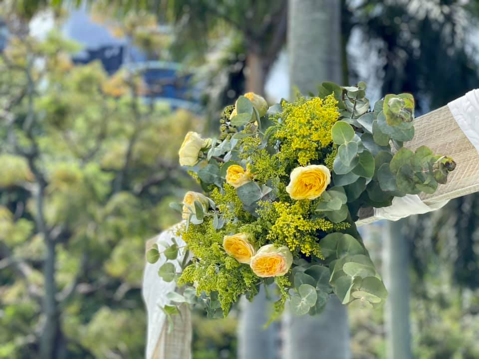 yellow wedding arbour flower