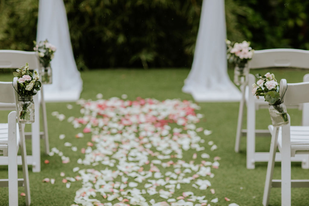 rose petal wedding aisle