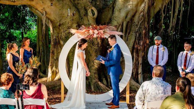 Brisbane City Botanic Gardens wedding ceremony setup