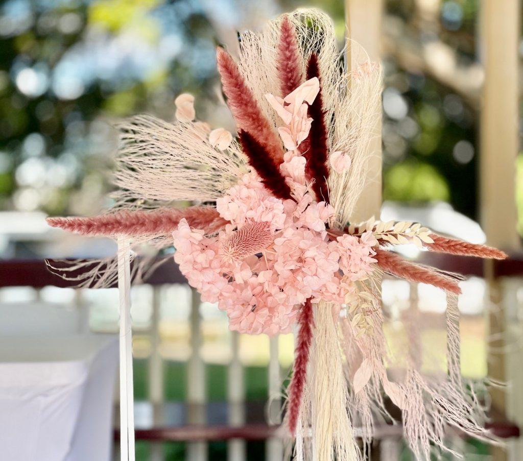 wedding plinth dried flowers Brisbane