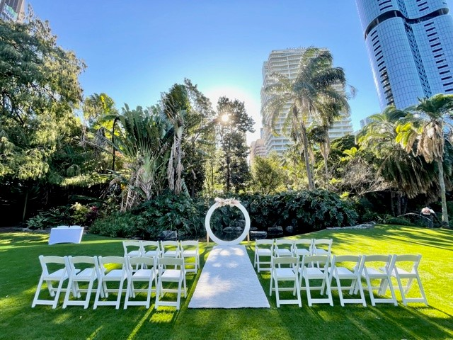 City Botanic gardens wedding decor